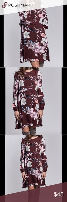 "Boho Long Sleeve Mini Floral Dress Fall/Winter Fab Beautiful red wine Floral Print. The simple and easy to wear tunic features a key hole back with long sleeves, which look super cute paired with knee high boots. Through on a beautiful Cardigan and instant completed fall/winter outfit. Check out closet for large selection of boots and cardigans to accessorize this beauty! 09022017207952 Long sleeved, Zipper back, Key hole back with button. Elastic cuff. Model is wearing size XS 5""10 100%…"