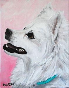 NEW ORIGINAL Painting American Eskimo Dog Art Pet Portrait REPAINTED 8x10 canvas #Realism