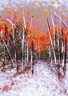 SOLD -Small Wintery Birches, acrylic on flat canvas panel, 5x7