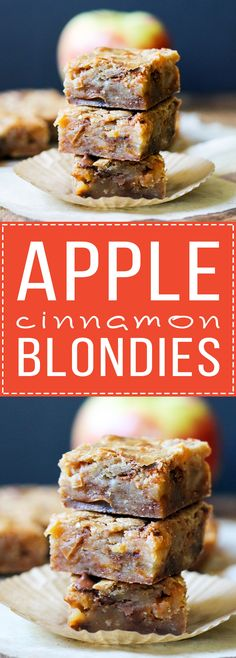 These Apple Cinnamon Blondies have sautéed apples and cinnamon chips for the ultimate portable fall treat! This easy recipe comes together quickly and tastes like apple pie. Apple Recipes, Fall Recipes, Baking Recipes, Healthy Recipes, Quick Recipes, Egg Recipes, Healthy Desserts, Pasta Recipes, Bread Recipes