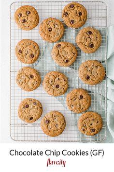 Gluten free chocolate chip cookie recipe that's easy to make. Paleo Baking, Gluten Free Baking, Gluten Free Desserts, Healthy Desserts, Baking Flour, Healthy Treats, Healthy Foods, Delicious Desserts, Paleo Cookies