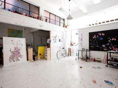 Big bright space to play and splatter paint