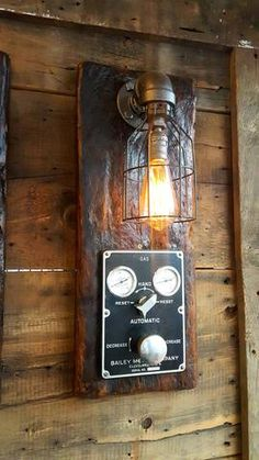 Steampunk, Industrial Barn Wood Wall Sconce, Boiler Control, light, lamp, #1069