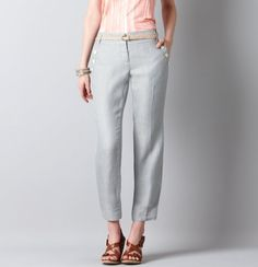 NEW! Marisa Sailor Front Belted Cropped Linen Pants found at Ann Taylor LOFT here at Watters Creek.