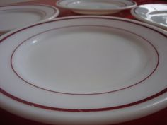 Pyrex Tableware Ruby Band Set of 4 Large by PlayfullyVintage
