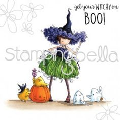 "This is a CLING MOUNTED RUBBER STAMP Approximate size of the main image is 4.0"" x 4.25"" BOO-0.5"" x 0.75"" get your witchy on- 0.5"" x 2.75"" ***COLORMAP AVAILABLE FOR THIS IMAGE***"