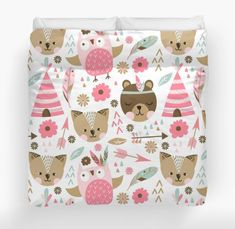 Baby girl nursery green and pink coral 21 trendy Ideas Woodland Nursery Bedding, Boho Nursery, Girl Nursery, Baby Girl Bedding Sets, Nursery Bedding Sets, Bedding Decor, Nursery Patterns, Lit Simple, Duvet