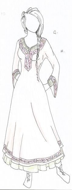 High status kirtle with underskirt/ chimese