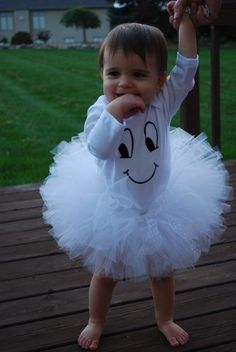 SAMPLE SALE Girls Halloween Costume -Adorable Ghost size 0-3 months long sleeve. $30.00, via Etsy.