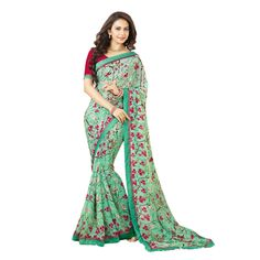 e6b91db75 Buy Irish Fashion Self Design Green Georgette Printed Saree With Un-stiched  Blouse Online at