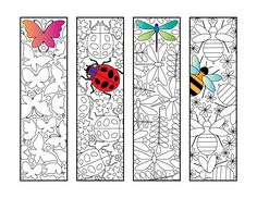 Insect Bookmarks – PDF Zentangle Coloring Page – Butterfly, Ladybug, Dragonfly, Bee - insects Colouring Pages, Printable Coloring Pages, Adult Coloring Pages, Coloring Book, Zentangle, Lady Bug, Art Plastique, Art Lessons, Insects