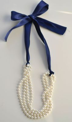 DIY Pearl Necklace- Finished with bow