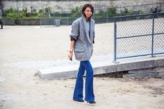 oversized blazer with denim flare for a cool and chic look