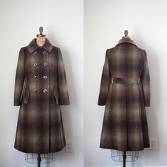 ombre plaid coat / 1960's college girl