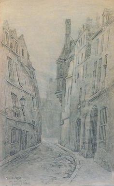 Combes Fernand - Pencil (enhanced) - Paris, quartier St Paul, rue du figuier - ~47.5x27.5cm; le dessin date probablement de 1910.