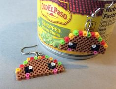 Cute taco mini Perler Bead earrings - hama beads - pixel art geek jewelry 8 bit mini beads Mexican food tacos kawaii