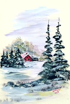 Peaceful Winter Painting by Dorothy Maier Winter Scenes To Paint, Winter Scene Paintings, Christmas Paintings On Canvas, Painting Snow, Winter Painting, Winter Art, Painting Art, Watercolor Christmas Cards, Watercolor Cards