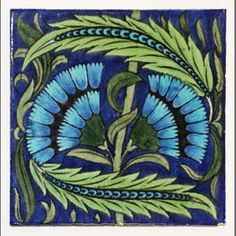 William De Morgan tile Decorated with two sky blue stylised cornflowers amidst scrolling green leaves, impressed Sands End Rose mark, 20cm square. - Bonhams