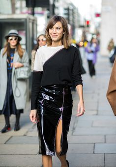 Surprise! Alexa Chung Is Launching her own Fashion Line   Browse 20 street style looks that epitomize Chung's quirky-cool, boy-meets-girl style   @stylecaster   Chic patent leather pencil skirt + black and white colorblock top