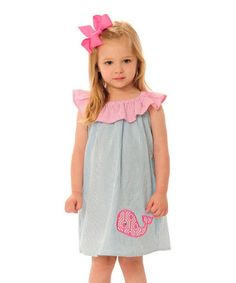 Look at this #zulilyfind! Aqua Seersucker Whale Flutter Dress - Infant, Toddler & Girls #zulilyfinds