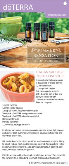 Recipe for italian sausage tortellini soup made with dōTERRA rosemary, oregano and basil essential oils.