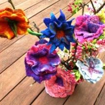 Flowers made with merino, silk and yarn., using a resist
