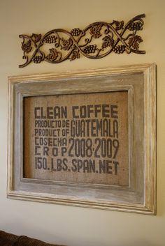 Framed coffee sack.  Beautiful styling!!