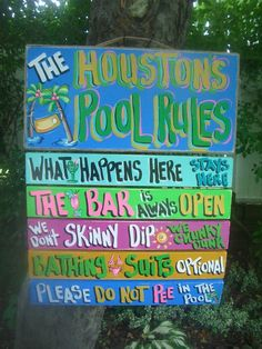 Pool Rules Tropical House Beach Tiki Hut Hand Made Personalized Sign Plaque | eBay