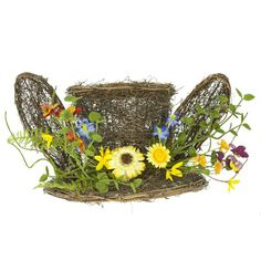 """Pansy Forsythia Twig Bunny Hat Size: 14"""" width; 1.7"""" ht Grapevine twig bunny hat with ears, decorated with spring flowers.  Arriving soon!"""