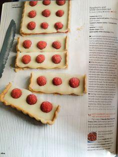 Raspberry and White Chocolate Tart. We should make this :-)