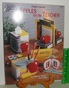 Plastic Canvas Crafts 1994 Needlepoint Pattern Book #3147 Apples For The Teacher