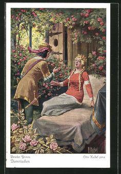 Alte Ansichtskarte: Künstler-AK Otto Kubel: Dornröschen wurde vom Prinzen wachgeküsst