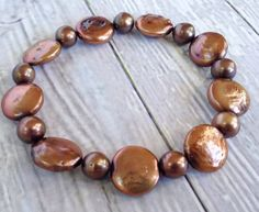 Freshwater Coin Pearls with Copper Beads Stretch Bracelet // Stackable // Coin Pearl Jewelry on Etsy, $18.00