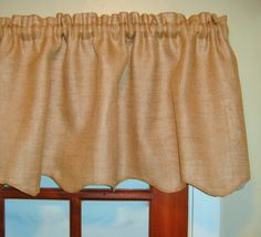 Ivory or Natural Scalloped Burlap Valance by LamourHomeDecor