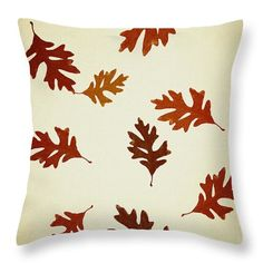 Oak Leaves Pattern Aged Throw Pillow by Christina Rollo