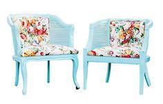 Vintage Spring Aqua Blue & Floral Cane Chairs - A Pair on Chairish.com