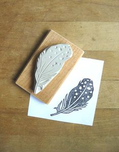 Black Spotted Feather Hand Carved Stamp by extase on Etsy, $12.00