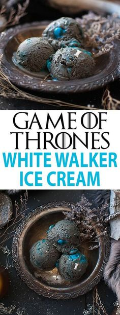 of Thrones Ice Cream Game of Thrones Recipe perfect for your game of thrones party! This ice cream recipe is with black sesame paste (it tastes like peanut butter!), blue M&Ms, and bone sprinkles to resemble the Game of Thrones White Walkers. Frozen Desserts, Frozen Treats, Just Desserts, Dessert Recipes, Party Recipes, Game Of Thrones Food, Game Of Thrones Party, Game Of Thrones Birthday Cake, White Walker
