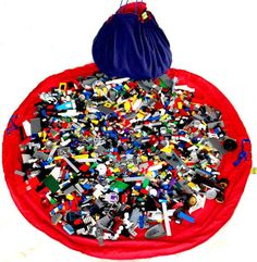 What is the best way to store the kids' Lego? Lego storage and organization ideas. Lego play mat and storage mat. Lego Storage Boxes, Diy Toy Storage, Ikea Storage, Storage Ideas, Storage Organizers, Toy Organization, Kitchen Storage, Smart Storage, Organizing