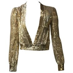 Preowned Scott Barrie 70s Gold Sequin Cropped Jacket Size 4. ($500) ❤ liked on Polyvore featuring outerwear, jackets, tops, shirts, brown, sequin jacket, brown jacket, vintage jackets, vintage sequin jacket and gold jacket