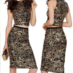 Sexy Sequins Geometric Print Knee-length Bodycon Two Pieces Dress