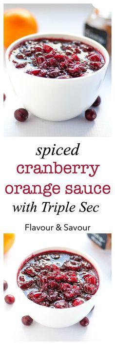 This homemade cranberry sauce is 100 times better than the canned variety! It's lightly flavoured with orange juice, cinnamon and cloves and (optionally) spiked with Triple Sec. Gourmet cranberry sauce for your holiday dinners. |www.flavourandsavour.com