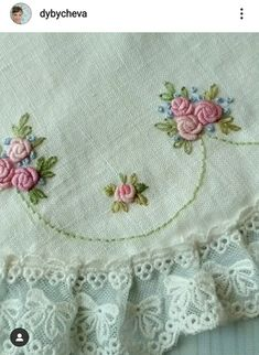 Border Embroidery Designs, Floral Embroidery Patterns, Hand Embroidery Tutorial, Embroidery Works, Hand Embroidery Stitches, Embroidery Hoop Art, Ribbon Embroidery, Cross Stitch Embroidery, Crystal Embroidery