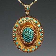Victorian Era Antique Turquoise Photo Locket Pendant Solid 18K Gold