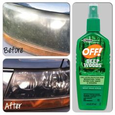 Quick, cheap way to clean foggy headlights. All you have to do is spray a few squirts of OFF bug spray on to lights and wipe then rinse. These pics are genuine, no filter, straight from my back yard. This is no joke! This stuff really works!