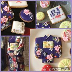 Beautiful kimono! 左下の写真が、成人式迎えられた方の着物のお姿.。.:*♡ このお着物からのアレンジしてみました(♡˘︶˘♡) #アイシングクッキー #成人式のお祝い #和柄アイシングクッキー #着物クッキー