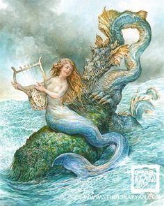Serenading the Sea Serpent (print) mermaid dragon ocean music Magical Creatures, Fantasy Creatures, Sea Creatures, Fantasy Mermaids, Mermaids And Mermen, Ocean Music, Sea Serpent, Mermaid Fairy, Underwater Creatures