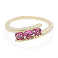 Alliance en or sertie de 3 Rubellites de Shimoyo AAA - Bijoux de mariage rose - Juwelo Bijouterie en Ligne