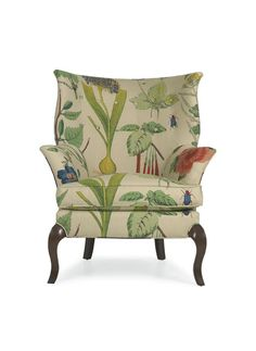 Gotta have this fabric!  CR Laine Dautry Chair in a hand-printed botanical study called Botanique Spring