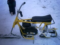 SNOWFLEA MINIBIKE Drift Trike Frame, Homemade Go Kart, Snow Vehicles, Vintage Sled, Diy Go Kart, Off Road Bikes, Custom Trikes, Pocket Bike, Pit Bike